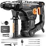 Bohrhammer, TACKLIFE 1500W 4-Funktion-Abbruchhammer mit Vibrationsdämpfungstechnologie, 7J Schlagstärke, 4350BPM und 900RPM, SDS-Plus und Rundschaftadapter, Bohrdurchmesser in Beton max: 32mm - TRH01A