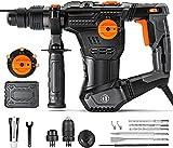 Bohrhammer, 1050W Abbruchhammer mit 4 Funktionen, 5J Schlagstärke, 4350BPM, 900RPM, SDS-Plus und Schnellspann-Bohrfutter, Vibrationsdämpfung, Bohrdurchmesser in Beton max: 28mm